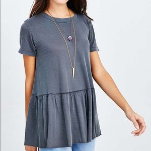 Truly Madly Deeply Charcoal Peplum Babydoll Tee